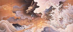 橋本雅邦 重文「龍虎図屏風(右隻)」(6曲1双) 明治28年(1895)静嘉堂文庫美術館蔵【全期間展示】